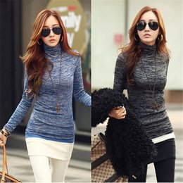 Wholesale turtleneck long sleeve shirt girl - Wholesale- ZANZEA Fashion Turtleneck Slim T Shirt Women 2016 Spring New Girls Long Sleeve Black Blue Knitted Tops Tees Plus Size T-Shirt