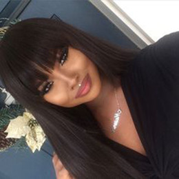 Wholesale Hair Wig Bangs - Beautiful silky straight full wigs simulation human hair silky straight full wigs with bangs free shipping