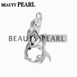 Wholesale Slide Mount - 5 Pieces Mermaid Cage Locket Love Wish Pearl Gift 925 Sterling Silver Pearl Cage Pendant Mounting