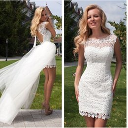Wholesale Sexy Mini Beach Wedding Dress - Sexy Detachable Lace Short White Ivory sheath scoop sleeveless beach Wedding Dresses Backless Bridal Gown free shiping