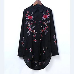Wholesale Flower Positioning - 2017 women fashion vintage position flower embroidery long blouses shirt brand loose long sleeve tops femininas blusas LS1099
