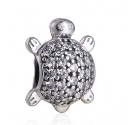 Wholesale Pandora Turtle Charm - 2017 New Sea Turtle Charms Fits Pandora Bracelets Original 925 Sterling Silver Clear CZ Turtle Animal Charm DIY Fine Jewelry Making HB323