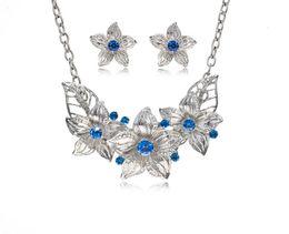 Wholesale Blue Enamel Flower Earrings - Fashion Zinc Alloy Austrian Crystal Enamel Flower Jewelry Sets Women African Costume Jewelry Maxi Necklace Earring Set DH026
