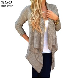 Wholesale Womens Thick Cardigans - Wholesale-Womens Cardigan Coat Spring Autumn Ladies Long Sleeve Irregular Knitted Sweater Casual Knitwear Female Cardigan Sweaters