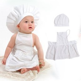 Wholesale Hat Cooks - 2016 Cute Baby Clothes Sets Chef Cosplay Costumes Toddler Boys Girls Cotton Cook Hat + Chef Apron Newborn Photos Props Outfits