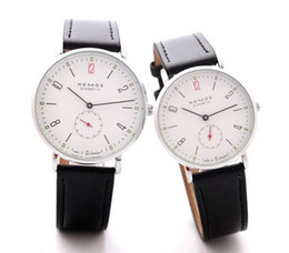 nomos watches Coupons - 2016 New Brand NOMOS Quartz Watch lovers Watches Women Men Dress Watches Leather Dress Wristwatches Fashion Casual Watches