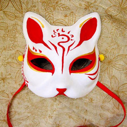 Wholesale Kitsune Mask - Upper Half Face Japanese Hand-Painted Fox Masks Kitsune Cosplay Masquerade Red for Noh Party Halloween Carnival Cartoon Mask