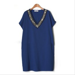 Wholesale Dress For Big Size Women - women bead dresses 2017 newly deep V-neck tops big size for female polyester dresses fashion XXXL
