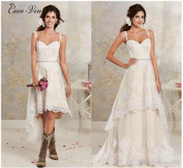 Wholesale Detachable Beads - C.V Two In One Detachable Skirt A line Wedding Dresses Low High Design Appliques With Belt Short Wedding dress Bridal Gowns W0267