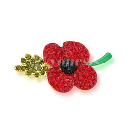 Wholesale Flower Memorial - Yoursfs Wedding Red Flower Brooches Pins Fashion Jewelry Brooches Kate Princess Memorial Enamel Brooches for Women