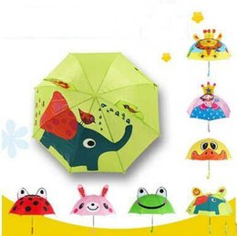 Wholesale Cute Small Boys - New Arrival 18 Inch Animal Kids Umbrellas Cute Princess Girls Boys Portable Small Umbrellas High Quality Parasol For Age 2-6