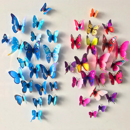 Wholesale Home Decoration Sticker Room - 12 Pcs Lot PVC Butterfly Decals 3D Wall Stickers Home Decor Poster for Kids Rooms Adhesive to Wall Decoration Adesivo De Parede