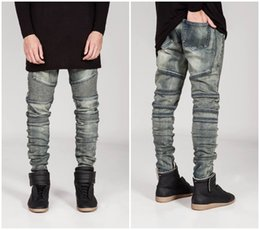 Wholesale Mens Skinny Pencil Jeans - Wholesale-New mens Biker Jeans Motorcycle Slim Fit Washed yellow Black Grey Blue Moto Denim skinny Elastic Pants Joggers For Men jeans