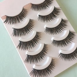 Wholesale Nature Cross - 5 Pairs Soft Handmade Long Makeup Cross Thick False Eyelashes Eye Lashes Nature Tools