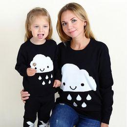 Осень зима мать дочь свитер соответствия вязать пуловер облако капли дождя одежда мама и девочки семья наряды Детская одежда от Поставщики мама дочери в зимних костюмах