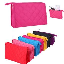 Wholesale Rhombus Purse - Women Rhombus Design Gift cosmetic bag Make Up Tool Bags Travel Storage Pouch Purse Portable Wash Bag Zip Closure Pocket S19.5*5.5*13cm