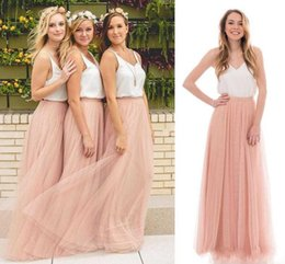 Wholesale Tulle Skirt Long Bridesmaid - 2017 Country Style Beach Spring Summer Boho Bridesmaid Dresses V-neck Blush Tulle Skirt Long Bridesmaids Maid of the Honor Dresses