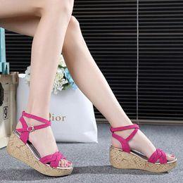 Wholesale White Fish Head High Heels - Women Sandals 2017 Summer New Open Toe Fish Head Fashion platform High Heels Wedge Sandals female shoes women shoes