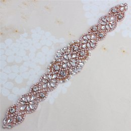 Wholesale Clear Beaded Belt - (1 piece) Rose Gold Beaded Appliques Sliver Rhinestones Sew On Clear Crystal For Costume Sash Belt Strass Diamante Motif Patches