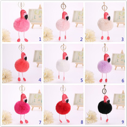 Wholesale Bird Artificial - Cartoon Flamingo Keychain Lovely Fluffy Artificial Rabbit Fur Ball Key Chain Animal Bird Pompom Women Car Bag Key Ring