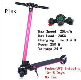 Wholesale Led For Motor Bike - NO Tax Upgrade Foldable Smart Electric Scooters Carbon Fiber Skateboard Bike 24V 250W LED Lamp 1.5 W Motor Scooter for Children Adult