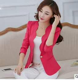 Wholesale Korean Womens Blazers - Spring And Autumn Womens Slim Korean Short Suit Jacket Fashion Small Suits Single Button Female Blazers Feminino Blazer J793