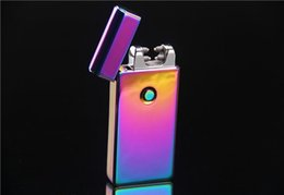 Wholesale Colorful Arc - Hot Wholesale Double fire cross twin arc Double cross fire ice new electric arc gold colorful charge usb lighters Free Shipping