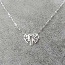 Wholesale Elephant Head Necklace - Wholesale 10Pcs lot Choker 2017 Promotion Mother's Day Gifts Hip Hop Jewelry Pendant Origami Elephant Head Gold Chain Statement Necklaces