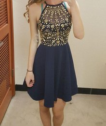 Wholesale Short Prom Dresses Tull - 2017 Sweety Short Homecoming Dresses Satin A Line Halter Sleeveless Beading Crystal Beaded Tull Cheap Cocktail Party Dresses Prom Dress