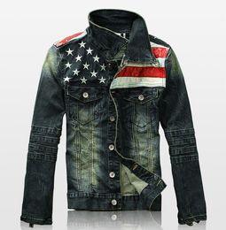 Wholesale Mens Denim American Flag Jacket - Wholesale- 2016 New Mens Jacket American Flag Suit Jeans Jacket PU Leather Patchwork Vintage Washed Distressed Antique Denim Jacket For Men