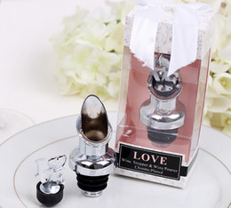 Wholesale Love Bottle Stoppers - 100PCS LOT Stainless Steel Love Wine Bottle Pourer Stopper Wedding Gifts Bridal Shower Party gift present FREE SHIPPING