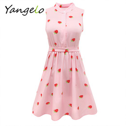 Wholesale Japanese Buttons Wholesale - Wholesale- Japanese Mori Girl Strawberry Print Sleeveless Dress Kawaii Lolita Sweet Pink High Waist A Line Mini Dresses 2016 Summer New
