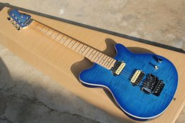 Wholesale Guitar Birds Fingerboard - Blue Electric Guitar with Flame Maple Top(5mm),Bird Eyed Neck and Fingerboard,Floyd Rose,2 Open Humbucker Pickups and Can be Customized