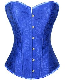 Wholesale Sexy Lingerie Corsage - Blue Corset Gothic Steampunk Bodice Wedding Sexy Lingerie Corsage Overbust Corsets and Bustiers Slimming Shaperwear CO203