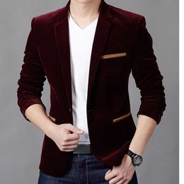 Wholesale Red Tuxedo Blazer - Wholesale- Formal Male Blazer Men Suits Jackets Slim Fit One button wine red Coats Slim Mens Blazers Suit tuxedos Wedding jaqueta X06