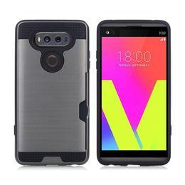 Wholesale Lg Nexus Cover Case - Brush Armor Card Slot Case For LG V10 V20 K4 K7 K8 K10 G5 Nexus 5X LS770 LS775 Hard PC Soft TPU Cover