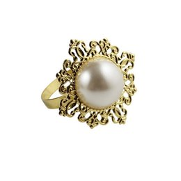 Wholesale Metal Ring Inlay - Wholesale- Free shipping hot for sale 12   a lot of top grade pearl inlaid with precious stones napkin ring table napkin wedding decoration
