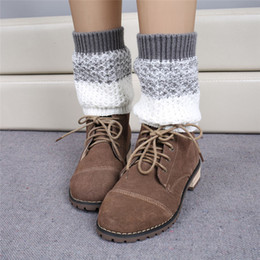 Wholesale jacquard knitted legging - Wholesale- 2015 Knitted Boot Covers Jacquard Knitted Leg Warmers Socks Boot Cover Women Warm Winter Boot Covers Short Leg Warmer Wholesale