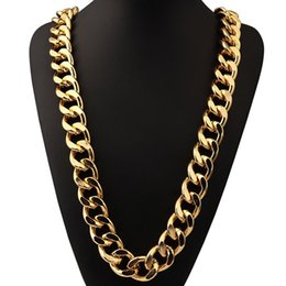 Wholesale Thick Gold Chains Designs - New Design Hot Street Dance Singer Gold Silver Thick sparse Aluminum Chain 35.4 Inch Necklace Hip Hop Jewelry For Men's Gift