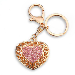 Wholesale Classic Exquisite Cars - Trendy Heart Crystal Love Keychain Women Bag Chams Key Chains Car Keyring Key Holder Exquisite Gift Jewelry llaveros PWK0597