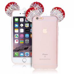 Wholesale mouse for apple - Bling Glitter Rhinestone Mouse Ear Cute Phone TPU Soft Case for iphone6 6s 6plus 6splus 7 7plus 8 8plus x