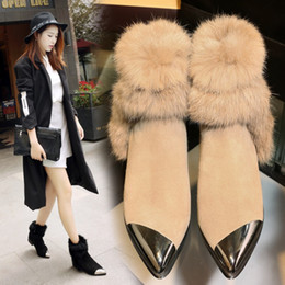 Canada New Faux Suede fourrure Pointed Toe Chunky High Heel Femmes élégantes Bottes de cheville Mode Automne Hiver Casual Work Booties Offre