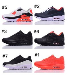 Wholesale Mens Sneakers Spikes - Wholesale Mens Sneakers Shoes classic 90 Men and women Running Shoes Black Grey White Sports Trainer Air Cushion Surface Breathable Sports