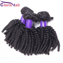 new machine curls hair Promo Codes - New Arrival Indian Afro Kinky Curly Hair Extensions Halo Full Aunty Funmi Bouncy Curls Human Hair Weave 3 Bundle Deals