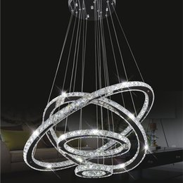 Wholesale Crystal Ring Chandelier Light - Modern LED Crystal Chandeliers Pendant Lights Ceiling Hanging Lighting Fixtures with AC110-240V LED SMD Round Ring Diamond CE FCC ROHS
