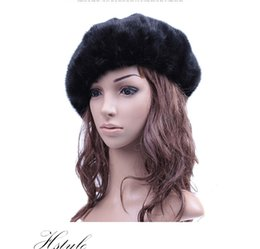 Wholesale Natural Mink Hats - Wholesale-2016 Womes Real Whole Mink Fur Berets Winter Natural Mink Fur Hats Luxurious Headwear Covered Button Adjustable LX00830