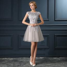 Wholesale Discount Bridesmaid Short Sleeve Dress - Silver Bridesmaids Dresses Lace Custom made 2017 New Big Discount Cap Sleeve Short Bridesmaid Dress Formal Dresses under 50