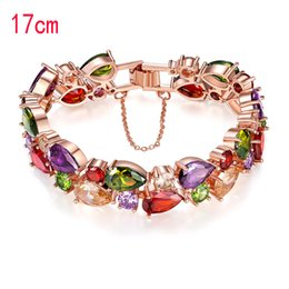 Wholesale Colorful Heart Charm - Monalisa color Zircon Bracelet, colorful rose gold bracelet is not easy to fade Jewelry Bracelet