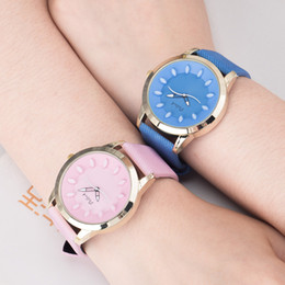 Wholesale Circle Pin - Cute Pollock Circle Candy Color Leather Strap Women Watch Generous Brand Dress Wristwatch Quartz Fashion Girl Student Casual Watch Clock