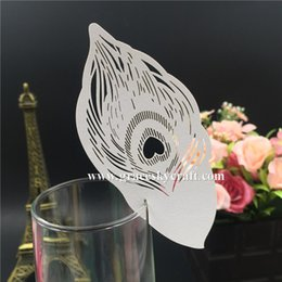Wholesale Paper Folding Cup - 50pcs lot free shipping Laser Cut Wedding Party Table Name Place Cup Cards feather Wedding Party Decoration Wedding Favors Party Supplies